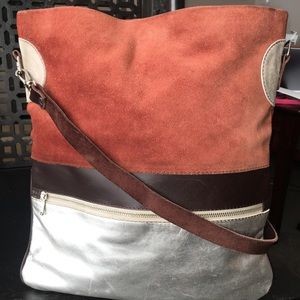 Humawaca Rust and Silver Suede Bag Argentina